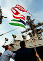 US Navy 020302-N-6626D-003 WTC Flag flown on the last day of Enduring Freedom Operations aboard CVN 71.jpg