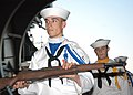 US Navy 060512-N-6645H-104 Company Commander Seaman Mark Holiday leads nine other Silver DolphinsU Drill Team members from Naval Submarine School, Groton, Conn., in a performance.jpg