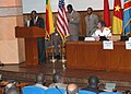 US Navy 061113-N-2893B-003 M. Alexandre K. Dossou, Benin's Minister of Transportation, Public Works and Town Planning, delivers welcoming remarks in French at the Maritime Safety and Security at the Gulf of Guinea Ministe.jpg