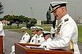 US Navy 070504-N-4198C-005 Commanding Officer Cmdr. Scott K. Higgins speaks during Naval Mobile Construction Battalion (NMCB) 3 change of command ceremony at Camp Shields.jpg