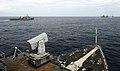 US Navy 090523-N-5345W-106 The amphibious dock landing ship USS Fort McHenry (LSD 43), foreground, steams alongside the amphibious transport dock ship USS Ponce (LPD 15) while waiting for the amphibious assault ship USS Bataan.jpg