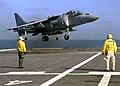 US Navy 090726-N-3925A-011 An AV-8-B Harrier assigned to the Sea Elks of Marine Medium Helicopter Squadron (HMM) 166 lands aboard the amphibious transport dock ship USS Cleveland (LPD 7).jpg