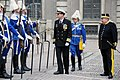 US Navy 100430-N-9917S-005 Capt. Tim Mahan, commanding officer of the guided-missile cruiser USS Vicksburg (CG 69), inspects the Royal Palace guards in Stockholm, Sweden.jpg