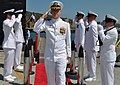 US Navy 100715-N-4047W-004 Cmdr. David Lott salutes the side boys at the conclusion of a change of command ceremony for the Los Angeles-class fast attack submarine.jpg