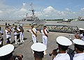US Navy 110918-N-HA376-084 The Bangladesh Navy Band performs on the pier as the mine countermeasures ship USS Defender (MCM 2) arrives in Chittagon.jpg