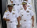US Navy 111011-N-WX059-097 Adm. Patrick M. Walsh, commander of the U.S. Pacific Fleet, speaks with Rear Adm. Umio Otsuka, commander of the Japane M.jpg