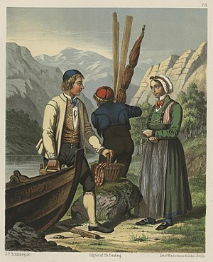 Slip-on shoe - Traditional costumes and shoes from inner Sogn district. Painting by Johan Fredrik Eckersberg, printed 1861
