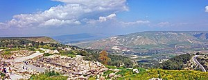 Umm Qais - View north from Umm Qais, with Sea of Galilee and Golan Heights visible.