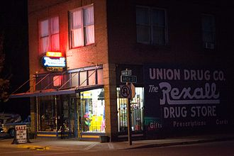 Rexall - Night falls on Rexall in Union, Oregon (2012)