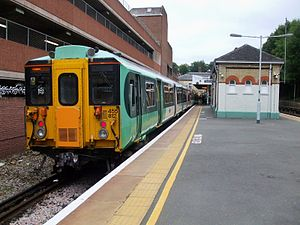 Caterham railway station - A Class 455 train standing at Caterham railway station in 2008.