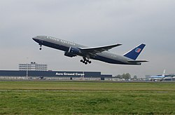 United Airlines aircraft taking off at Schiphol Airport.jpg