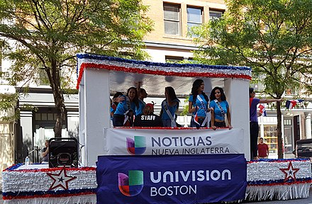 The Univision parade float in Boston's 2016 Dominican Parade. Univision Parade Float in Boston.jpg