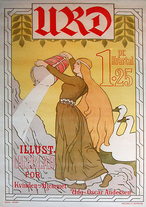 Urðr - A poster for the Norwegian women's magazine Urd by Andreas Bloch and Olaf Krohn.