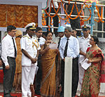 VAdm P Murugesan and Medha Murugesan during the launch ceremony of INS Tarmugli, INS Tilanchang and INS Tihayu.jpg