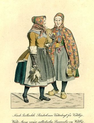 Valby - Valby women at Gammeltorv c. 1800, engraving by Gerhard Ludvig Lahde