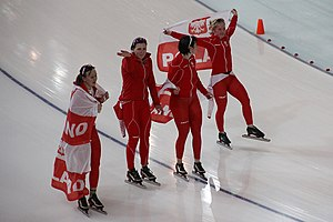 Natalia Czerwonka - Polish team after winning the bronze medal at the Vancouver Winter Olympics.