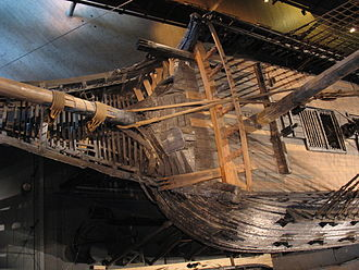 Beakhead - The bow and beakhead of the 17th century warship Vasa seen from above. The small square holes on either side of the bowsprit are the toilets.