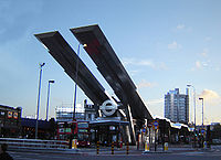 The Vauxhall Cross transport interchange. The solar panels supply energy for 60% of the bus station's lighting. (October 2005)