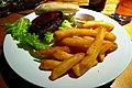 Venison burger with chips - Mulberry Bush, Bankside, London.jpg