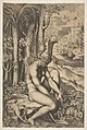 Venus removing a thorn from her left foot while seated on a cloth beside trees and foliage, a hare eating grass before her MET DP818712.jpg