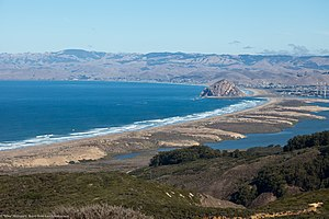Estero Bay (California) - View from Summit of Hazard Peak to Estero Bay, Morro Rock, Morro Bay Estuary, Sandspit, and  Towns of Morro Bay and Cayucos. 2011 photo.