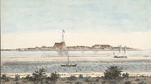 Fort Emmanuel - Watercolour painting of the fort of Cochin from across the backwaters,  unknown artist, around 1800