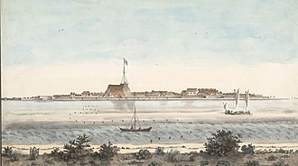 Fort Emmanuel - Watercolour painting of the fort of Cochin, with a British flag, from across the backwaters, unknown artists, around 1800 AD.