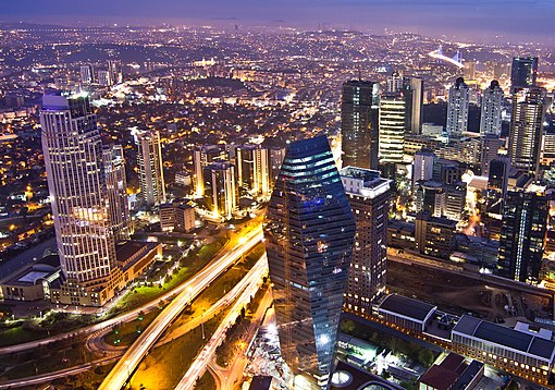 Skyscrapers of Levent business district in Istanbul, Turkey's largest city and leading economic centre View of Levent financial district from Istanbul Sapphire.jpg