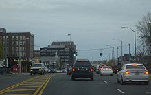 The Village of Hempstead as shown from eastbound lanes of  Fulton Street.