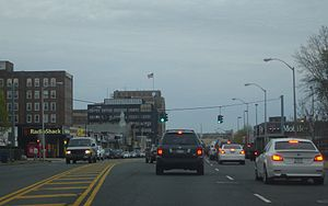 New York State Route 24 - Eastbound lanes of NY 24 (Fulton Avenue) in the Village of Hempstead.