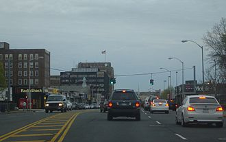 Hempstead (village), New York -   The Village of Hempstead as shown from eastbound lanes of Fulton Street.