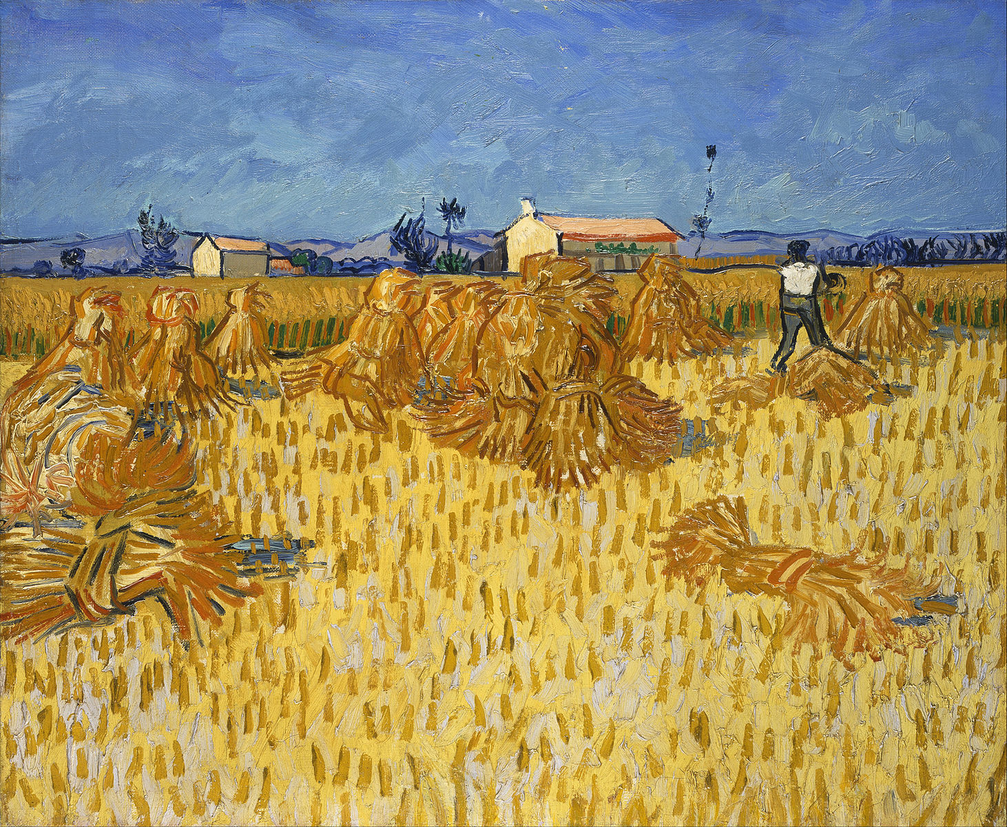 Corn Harvest in Provence painting by Vincent van Gogh (1888)