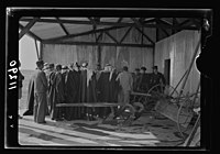 Visit to Beersheba Agricultural Station (Experimental) by Brig. Gen. Allen & staff & talks to Bedouin sheiks of district by station superintendent. The group having agricultural impliments LOC matpc.20543.jpg