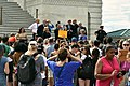 WASHINGTON, DC -- JULY 25 2017 Democratic Senators address a crowd of supporters at a rally on the Capitol steps after the motion to proceed vote on the Trumpcare bill. (35998611202).jpg