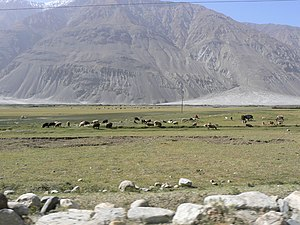 Wakhan Corridor between Pakistan and Tajikistan.