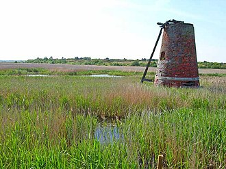Suffolk Coast National Nature Reserve - Windpump on marshes south of Walberswick