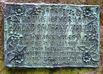 Edmund Seyfang Taylor - Walker Miles' memorial plaque