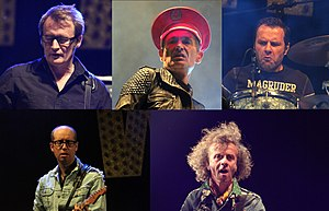 Les Wampas - Les Wampas at Balelec 2011. Clockwise from top left:Jean-Mi Lejoux (bass), Didier Wampas (lead vocals), Niko Wampas (drums), Tony Truant (guitar), Philippe Almosnino (guitar)