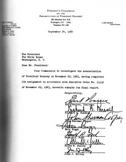 Warren Commission US commission established by president LB Johnson to investigate the Kennedy assassination