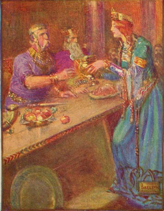 Hrothgar - Queen Wealhþeow serving Hrothgar (background, centre) and his men. Illustration from a 1908 children's book.