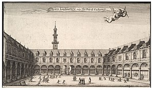 Royal Exchange, London - The original Royal Exchange in an engraving by Wenceslaus Hollar
