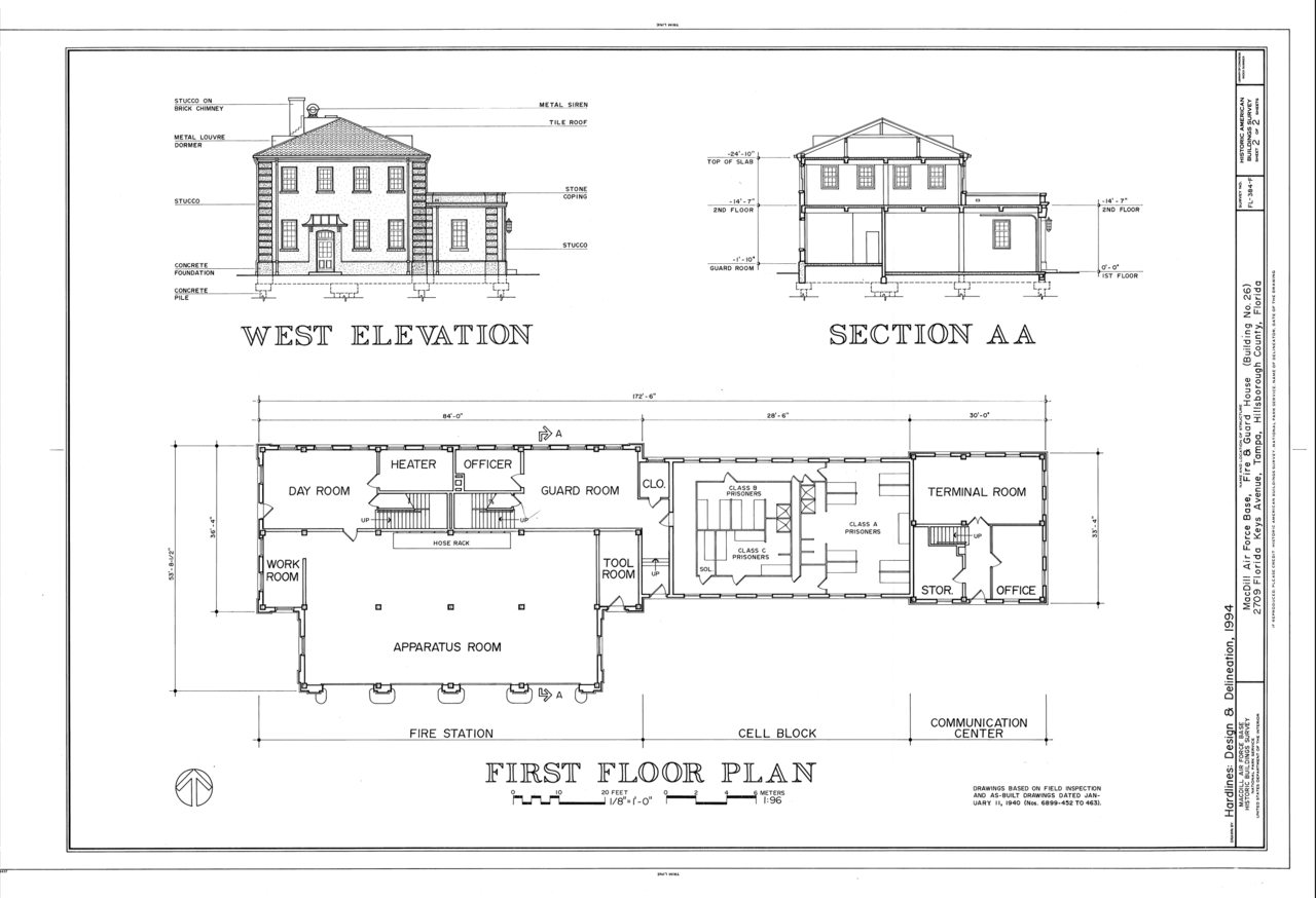 File west elevation section and first floor plan for Guard house design layout