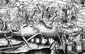 "Flensing - Whale-Fishing. Facsimile of a Woodcut in the ""Cosmographie Universelle"" of Thevet, in folio: Paris, 1574"