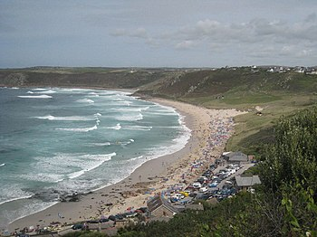 English: Whitesand Bay Although the weather is...