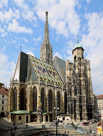 St. Stephen's Cathedral, Vienna - South tower and the shorter north tower, along with the roof tiles mosaic.