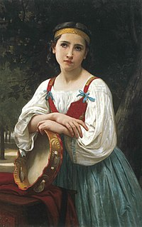 Gitane avec tambour basque(œuvre de William Bouguereau - XIXesiècle)