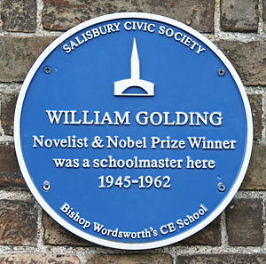 William Golding - Plaque at Bishop Wordsworth's School, Salisbury