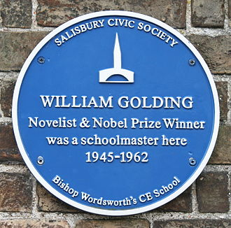 William Golding - Plaque at Bishop Wordsworth's School, Salisbury.