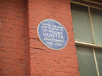 Great Windmill Street - William Hunter plaque on what is now the side of the Lyric Theatre.