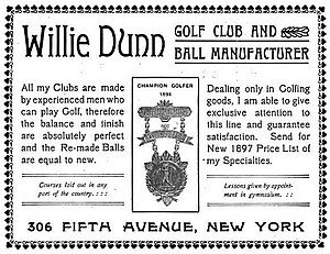 Willie Dunn (golfer) - An 1897 advertisement of Dunn's golf business in New York.